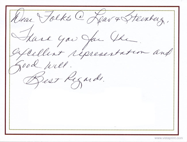 A hand-written testimonial for Leav & Steinberg LLP in New York, NY